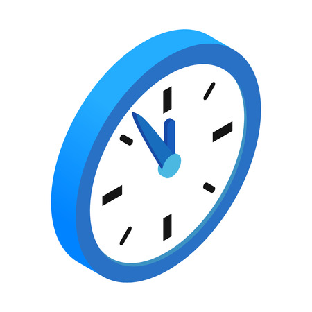 logo home: Round blue clock with five minutes to twelve icon. Single isometric 3d symbol