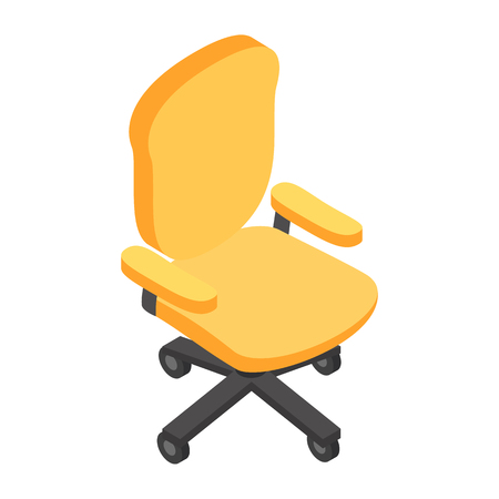 swivel: Desk chair isometric 3d icon. Single symbol on a white background