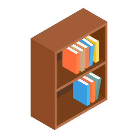 Bookcase isometric 3d icon isolated on white background