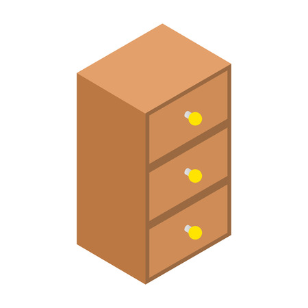 drawers: Chest of drawers isometric 3d icon. Brown single symbol on a white background