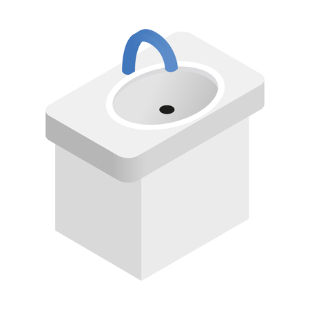cleanliness: Ceramic sink isometric 3d icon. Household sink for hygiene and cleanliness concept