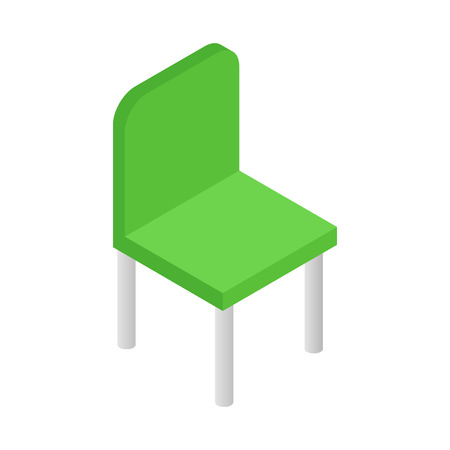 office chair: Green simple chair isometric 3d icon. Single symbol on a white background