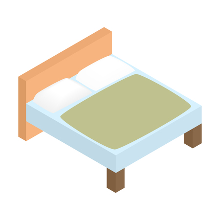 headboard: Bed linens isometric 3d icon. Tidy hotel bed. Single symbol on a white background
