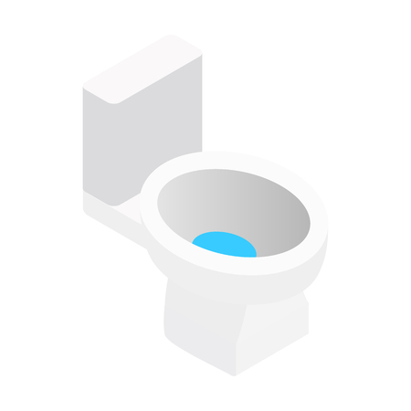 toilet sign: White toilet isometric 3d symbol. Single icon on a white background