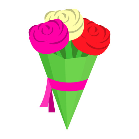 mazzo di fiori: Bouquet di nozze isometrico 3d icona. Piccolo mazzo di fiori su uno sfondo bianco Vettoriali