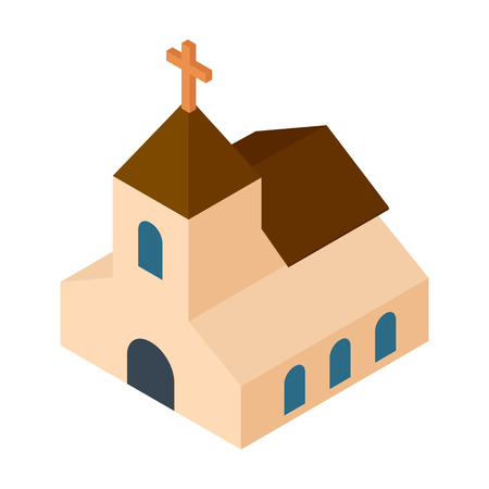 chapel: Wedding chapel isometric 3d icon.  Illustration of a cute church or chapel on a white