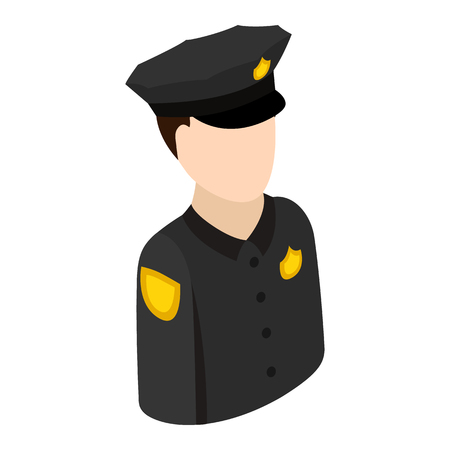police sign: Police officer isometric 3d icon. Single character on a white background