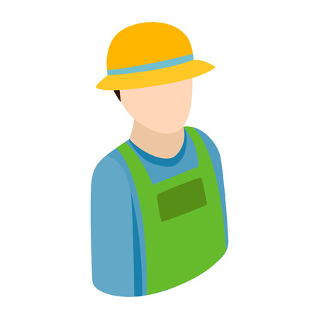 pictogram people: FarmerFarmer isometric 3d icon. Single character on a white background Illustration