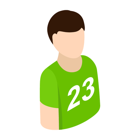 Sportsmen isometric 3d icon. Single character in green t-shirt on a white background Reklamní fotografie - 49712723