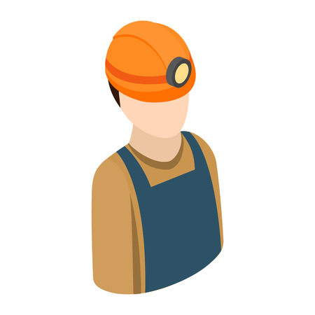 industrial safety: Miner isometric 3d icon. Single character of construction worker in helmet on a white Illustration