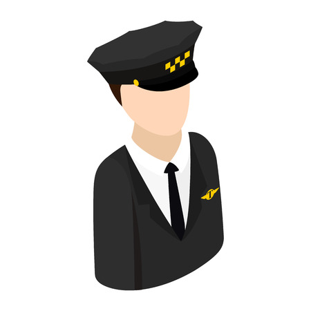 chauffeur: Taxi driver in a hat isometric 3d icon. Single character on a white background Illustration