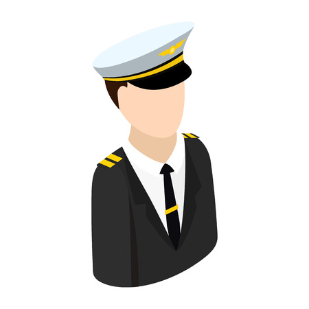 pilot: Pilot with suit and hat isometric 3d icon. Single character on a white background