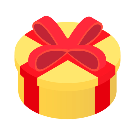 burgundy ribbon: Yellow round gift box with burgundy red ribbon and bow isolated on a white