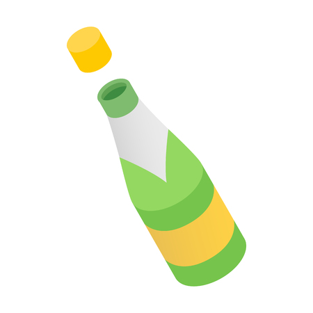 bung: Champagne bottle being opened. Isometric 3d icon on a white background