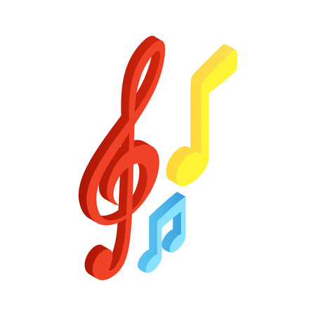 paper notes: Music notes isometric 3d icon. Colored signs on a white background
