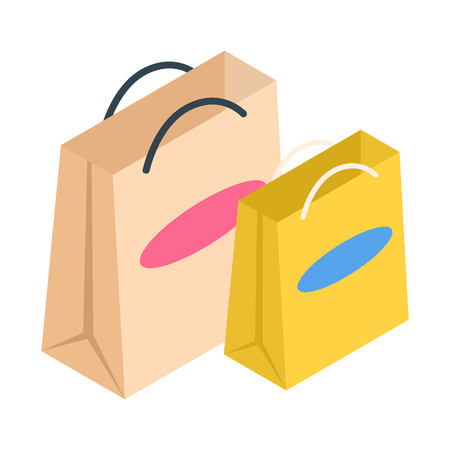 paper bags: 2 shopping bags isometric 3d icon. Paper bags on a white background Illustration