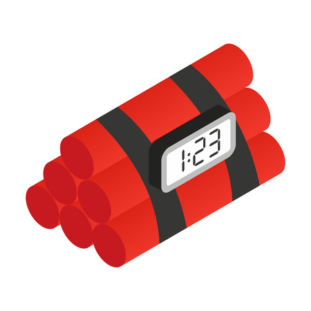 detonation: Dynamite isometric 3d icon. Dynamite with self detonation system on a white background Illustration