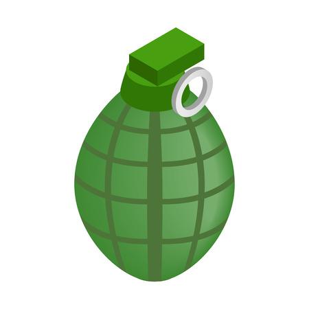 lanzamiento de bala: Granada de mano 3D isométrico icono sobre un fondo blanco