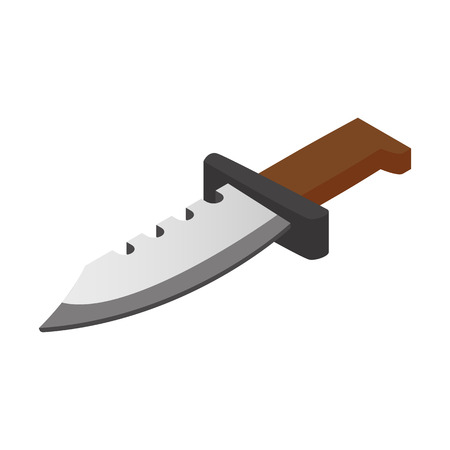 knife: Hunting knife isometric 3d icon. Military symbol isolated on a white