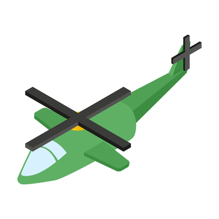 aeronautics: Army helicopter isometric 3d icon. Military illustration on a white background