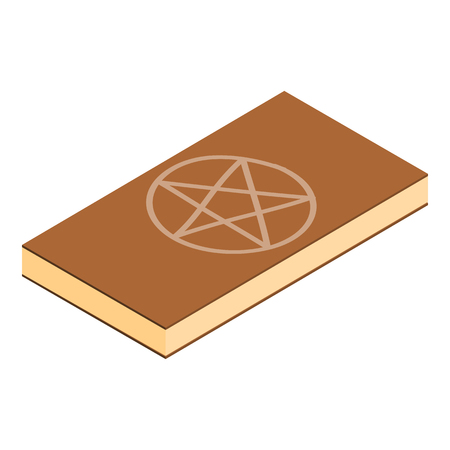 pentacle: Book of black magic isometric 3d icon. Leather book with pentagram isolated on a white