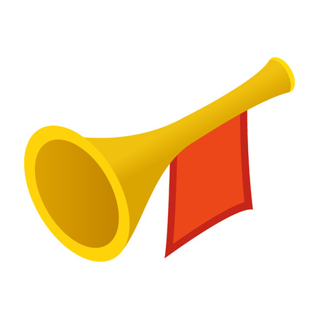 fanfare: Trumpet with red flag isometric 3d icon isolated on white background