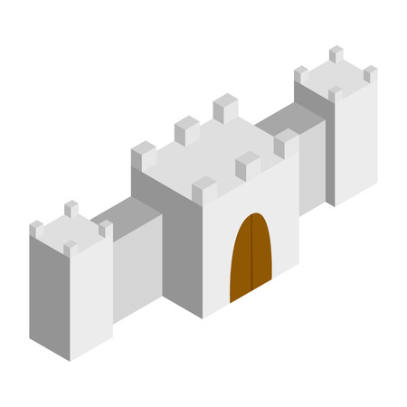 fort: Fortress isometric 3d icon. Castle illustration isolated on a white