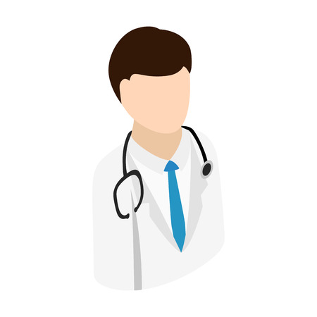doctors tool: Doctor isometric 3d icon. Single man with stethoscope on a white background