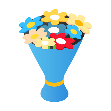 floral bouquet: Bouquet isometric 3d icon. Bouquet of flowers in a blue wrap on a white background