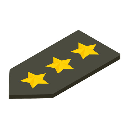 straps: Shoulder straps with three stars isometric 3d icon. Military ranks Illustration