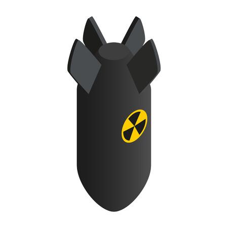 bombe atomique: Bombe atomique 3d isométrique icône isolé sur un fond blanc Illustration