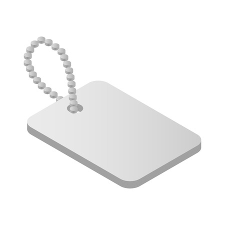 blank metallic identification plate: Shiny blank metallic identification plate isometri 3d icon Military tag isolated on white