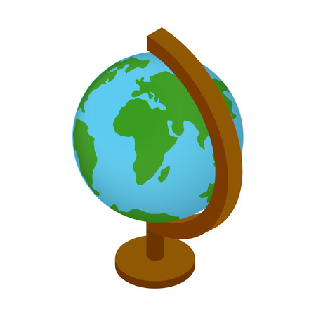globus: School geographical globe isometric 3d icon. Globus illustration isolated on a white