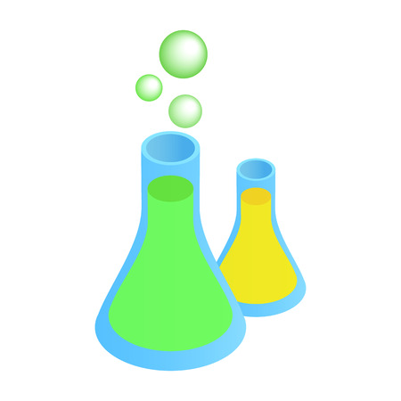 Glass flasks with colorful liquids isometric 3d icon. Bulbs with bubbles on a white Çizim
