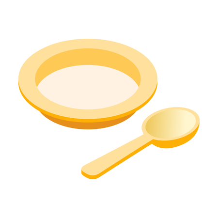 kiddie: Baby plate and spoon isometric 3d icons set. Cute kiddie objects isolated on a white