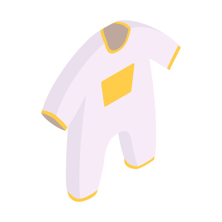 baby clothing: New born baby clothes isometric 3d icon. White with orange decoration infant bodysuit