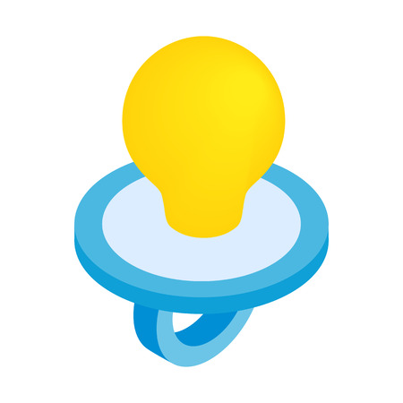 nipple young: Baby nipple isometric 3d icon isolated on a white background