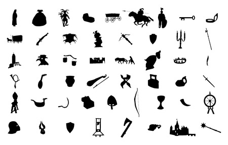 scepter: Medieval silhouettes set isolated on white background