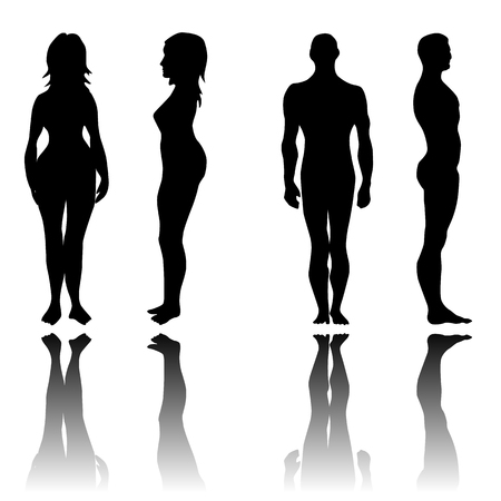 Man and woman in front and side view silhouettes set Vettoriali