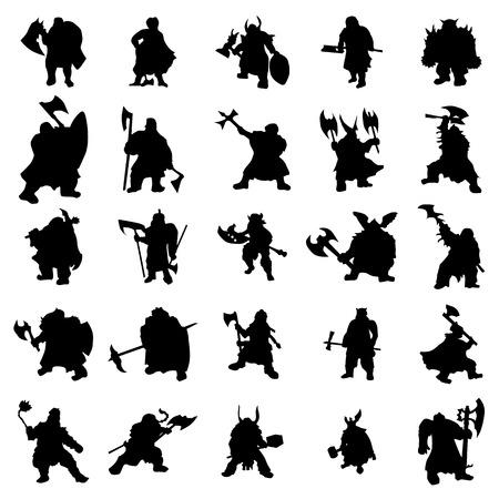 dwarf: Dwarf silhouettes set isolated on white background Illustration