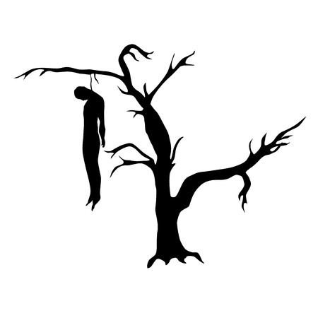 Man hanged from a dead tree silhouette isolated on white background