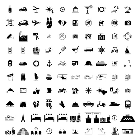 sun bed: Tourism hotel simple black icons set. 100 symbols isolated on a white background Illustration