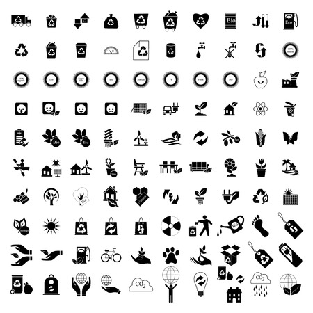 eco power: 100 Eco icons set isolated on white background