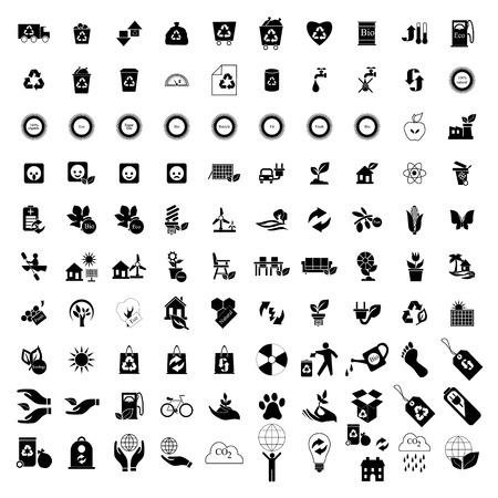 100 Eco pictogrammen set geïsoleerd op een witte achtergrond Stock Illustratie
