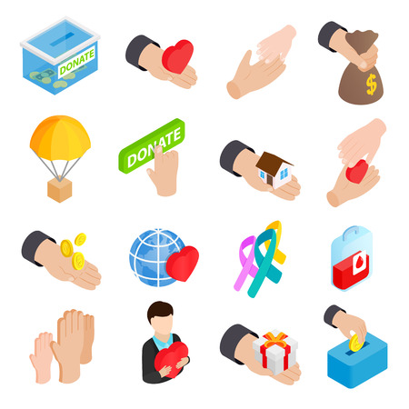 mutual assistance: Donate given or charity and assistance help or aid isometric 3d icons set on a white