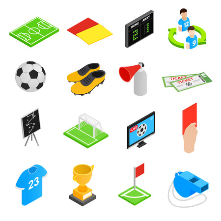 soccer field stadium: Soccer isometric 3d icons set. 16 football icons on a white background Illustration