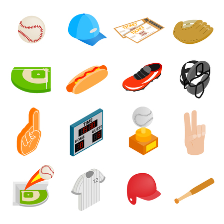 team sport: American football isometric 3d icons isolated on a white background Illustration