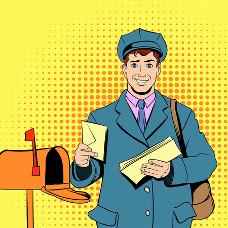 deliver: Postman holding mail and bag in comics style Illustration