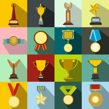 awards: Trophy and awards flat icons set for web and mobile devices