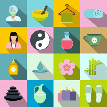 massage symbol: Spa flat icons set for web and mobile devices